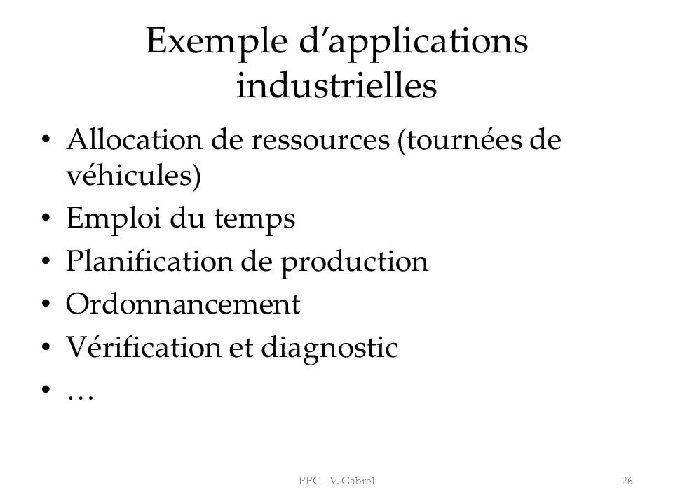 Exemple d'applications industrielles