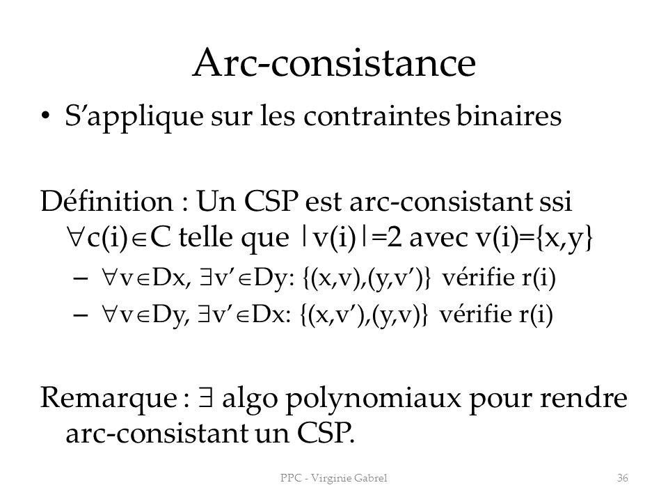 Arc-consistance S'applique sur les contraintes binaires