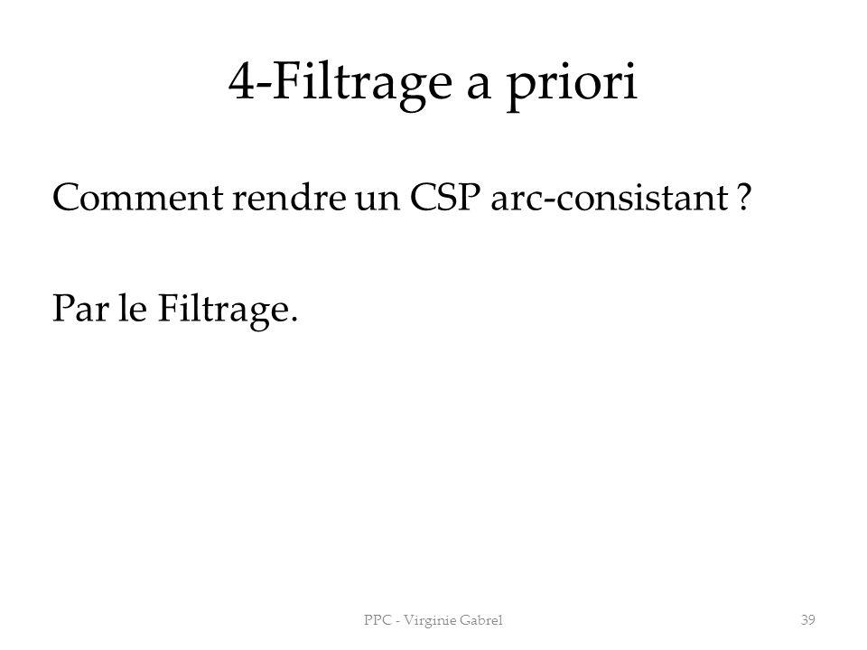 4-Filtrage a priori Comment rendre un CSP arc-consistant Par le Filtrage. PPC - Virginie Gabrel