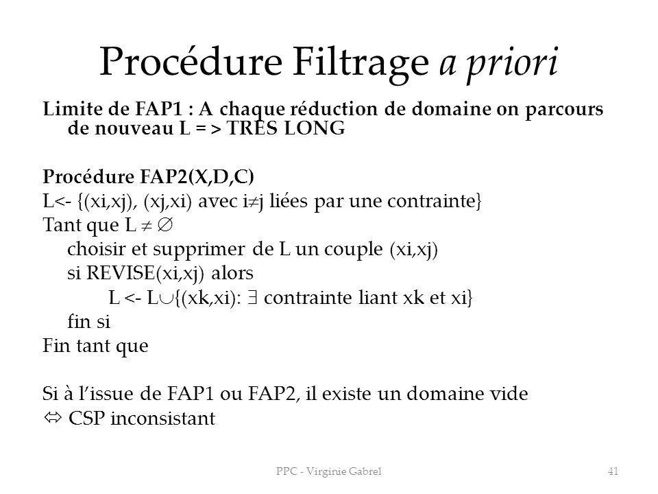 Procédure Filtrage a priori