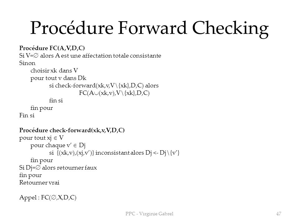Procédure Forward Checking