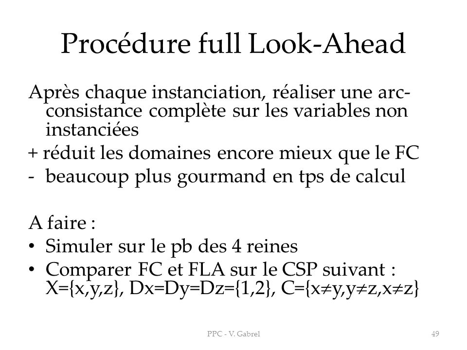Procédure full Look-Ahead