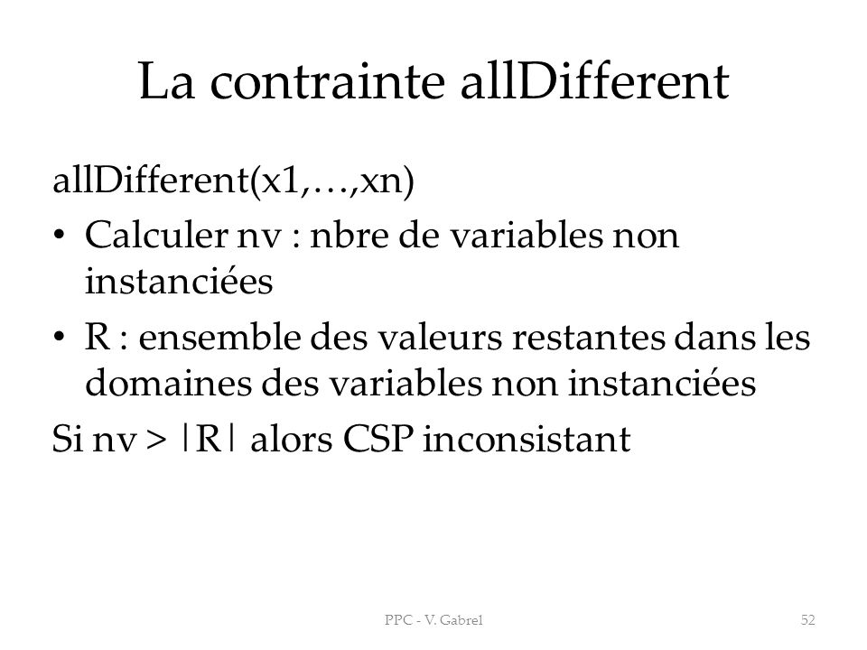 La contrainte allDifferent