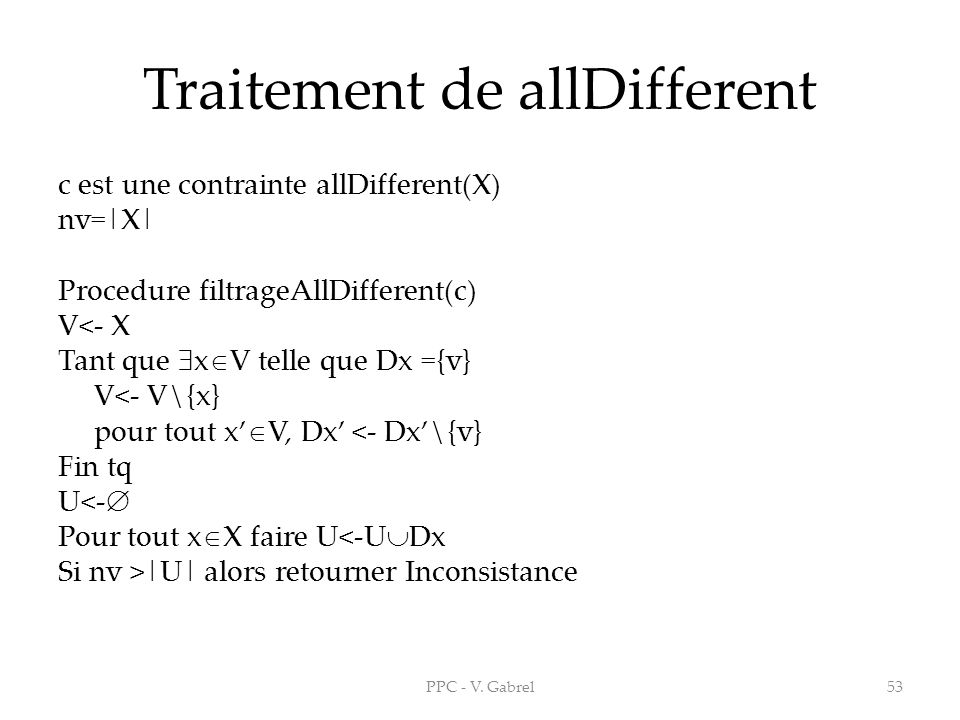 Traitement de allDifferent