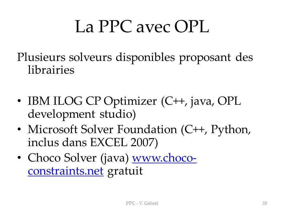 La PPC avec OPL Plusieurs solveurs disponibles proposant des librairies. IBM ILOG CP Optimizer (C++, java, OPL development studio)