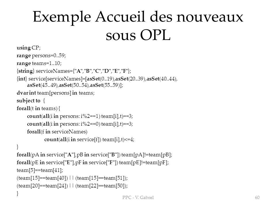 Exemple Accueil des nouveaux sous OPL