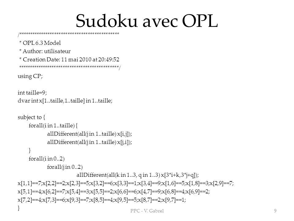 Sudoku avec OPL /*********************************************