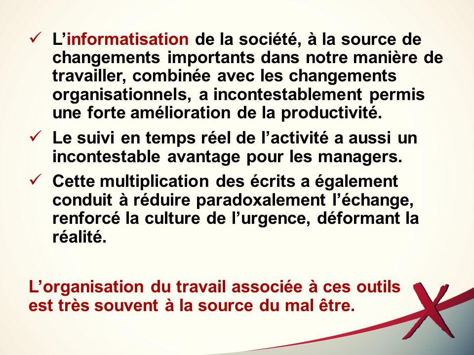 L'informatisation de la société, à la source de changements importants dans notre manière de travailler, combinée avec les changements organisationnels, a incontestablement permis une forte amélioration de la productivité.