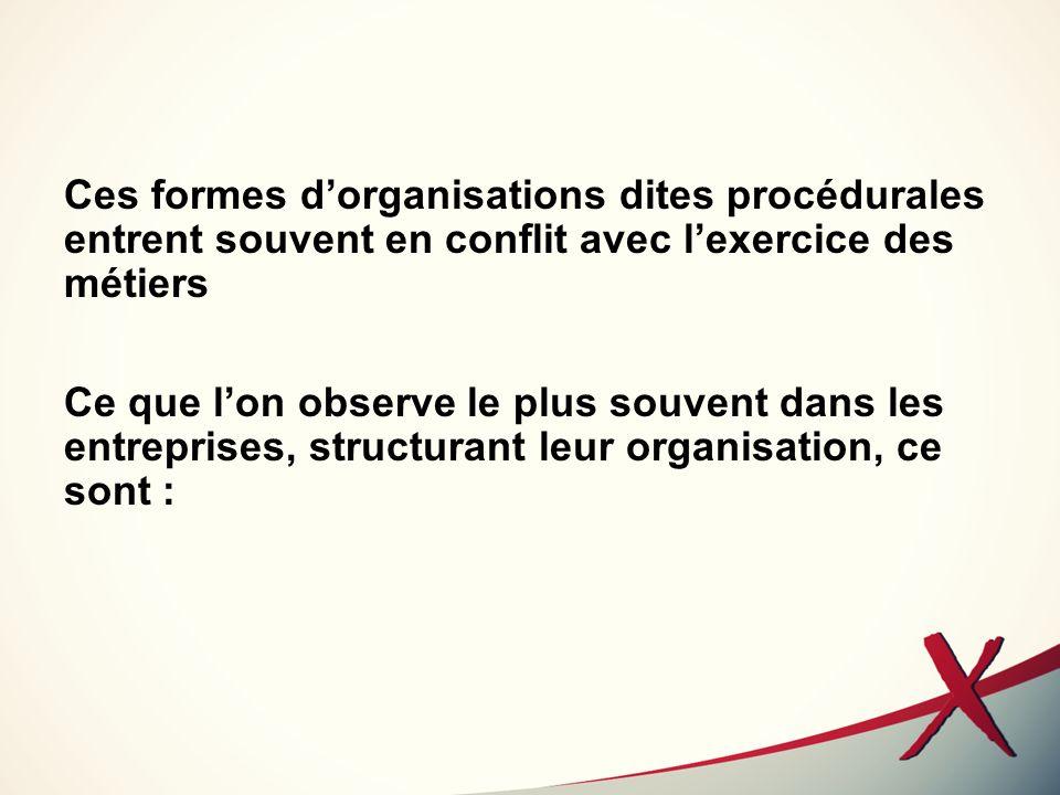 Ces formes d'organisations dites procédurales entrent souvent en conflit avec l'exercice des métiers