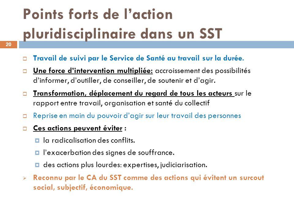 Points forts de l'action pluridisciplinaire dans un SST