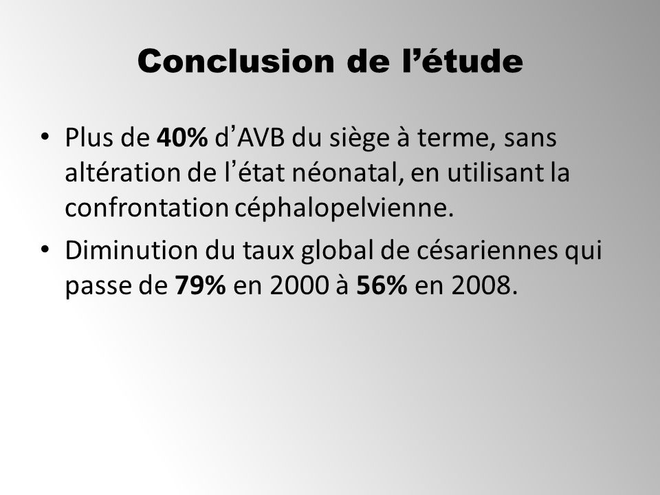 Conclusion de l'étude Plus de 40% d'AVB du siège à terme, sans altération de l'état néonatal, en utilisant la confrontation céphalopelvienne.