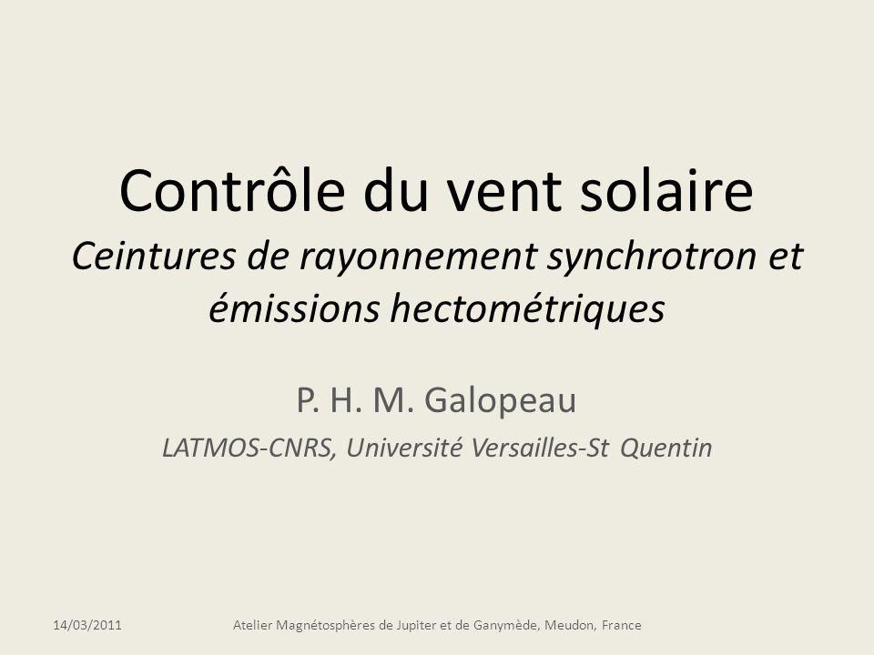 P. H. M. Galopeau LATMOS-CNRS, Université Versailles-St Quentin