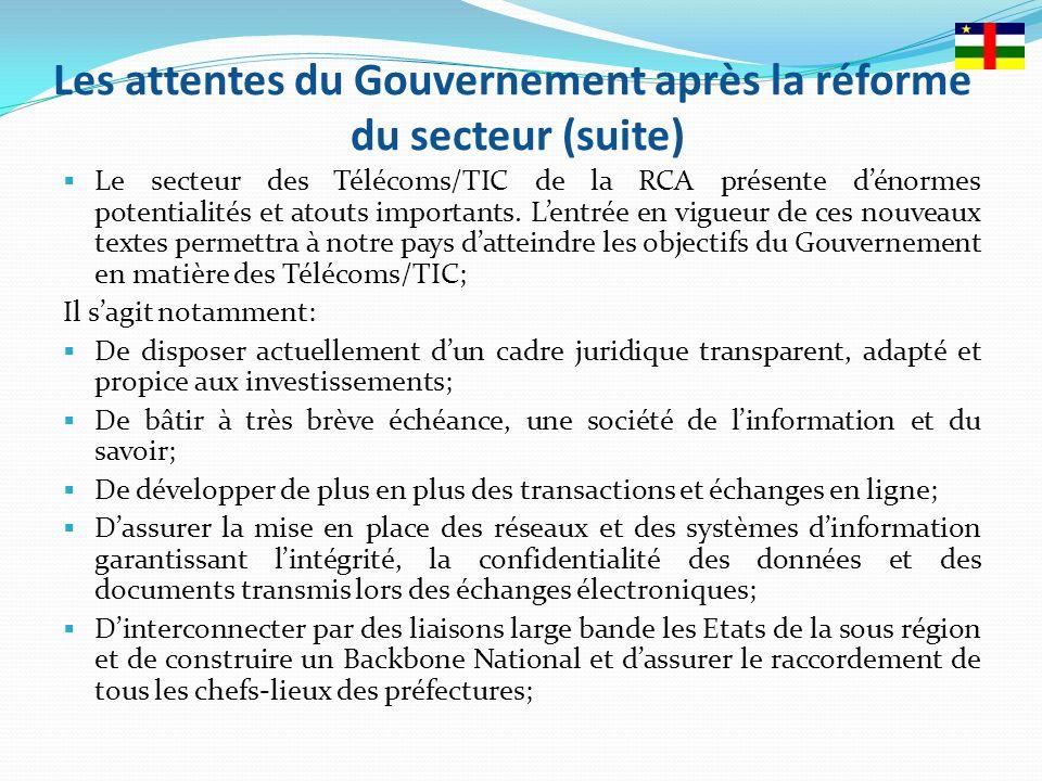 Les attentes du Gouvernement après la réforme du secteur (suite)