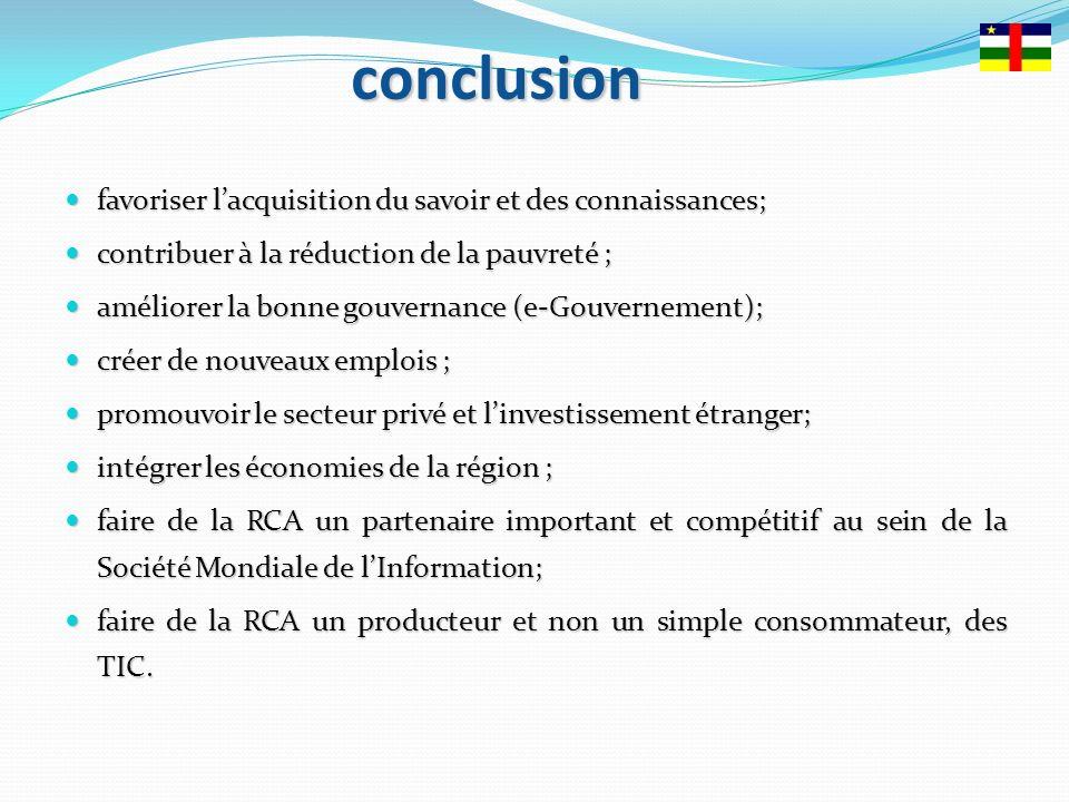 conclusion favoriser l'acquisition du savoir et des connaissances;