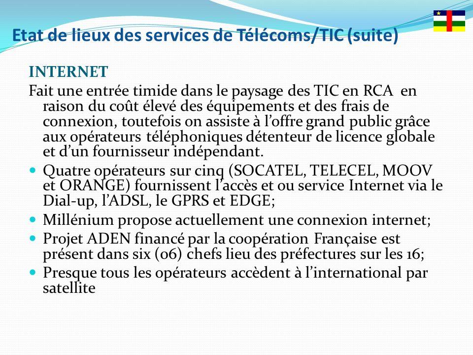 Etat de lieux des services de Télécoms/TIC (suite)