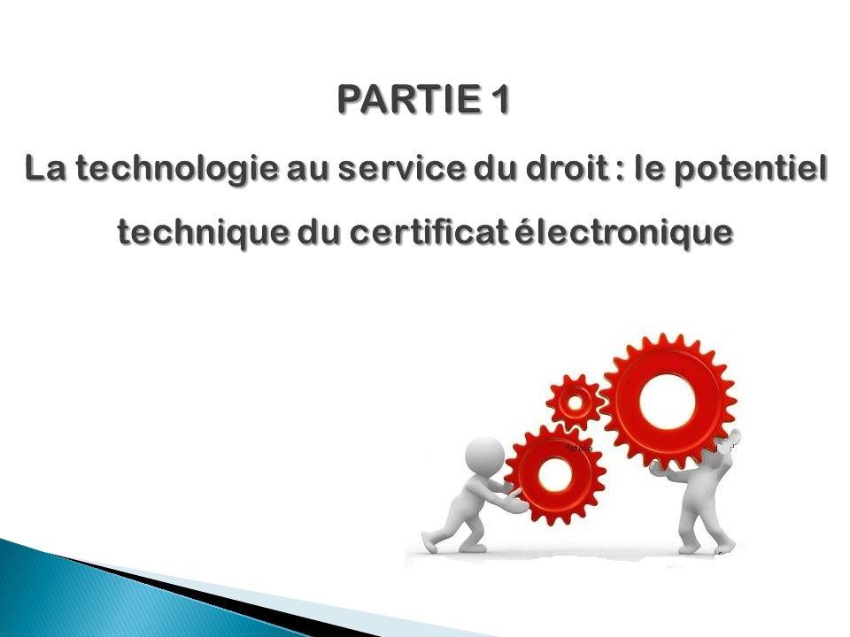 PARTIE 1 La technologie au service du droit : le potentiel technique du certificat électronique