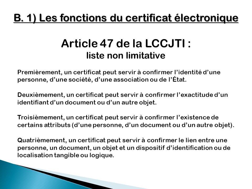 B. 1) Les fonctions du certificat électronique