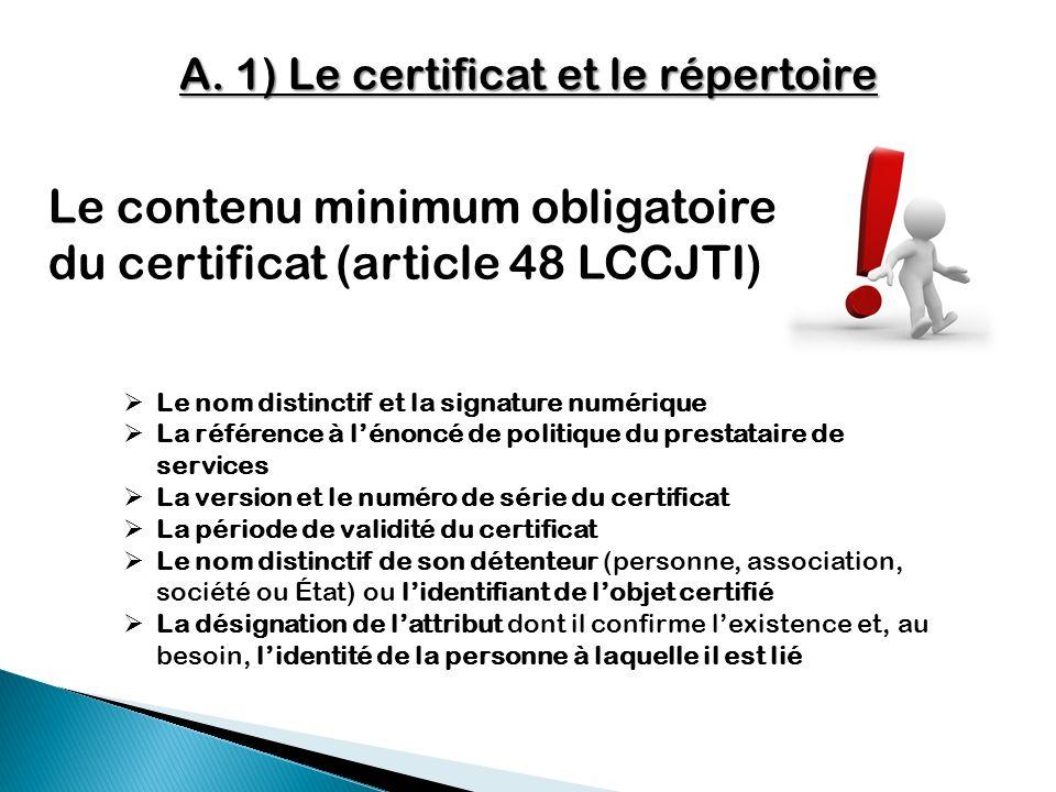 A. 1) Le certificat et le répertoire