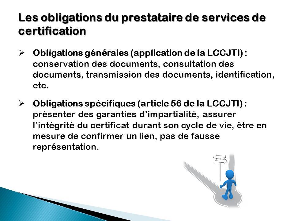 Les obligations du prestataire de services de certification