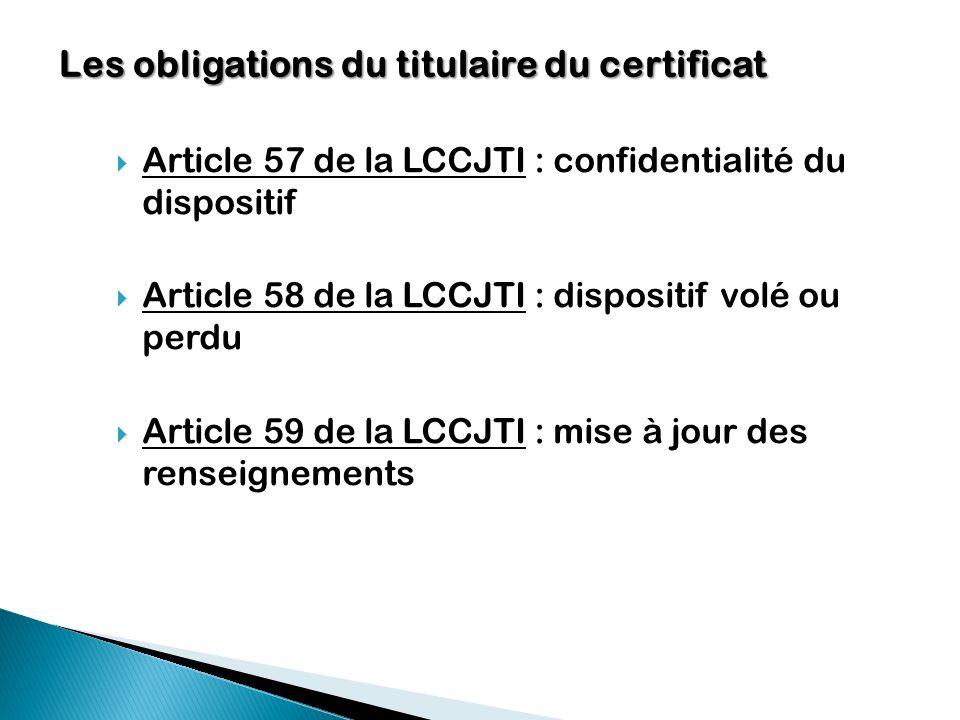 Les obligations du titulaire du certificat