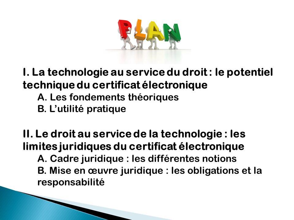 I. La technologie au service du droit : le potentiel technique du certificat électronique