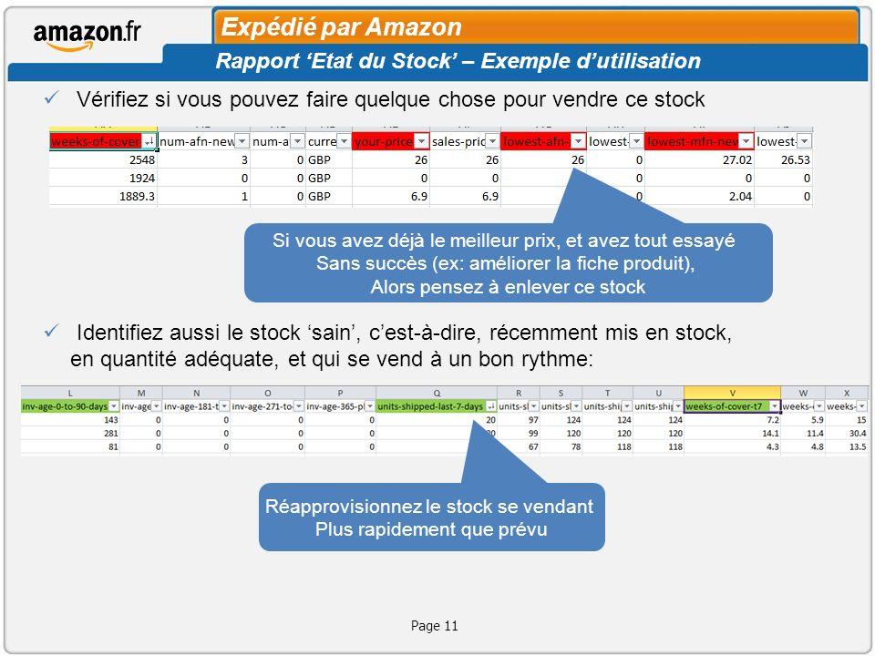 Expédié par Amazon Rapport 'Etat du Stock' – Exemple d'utilisation