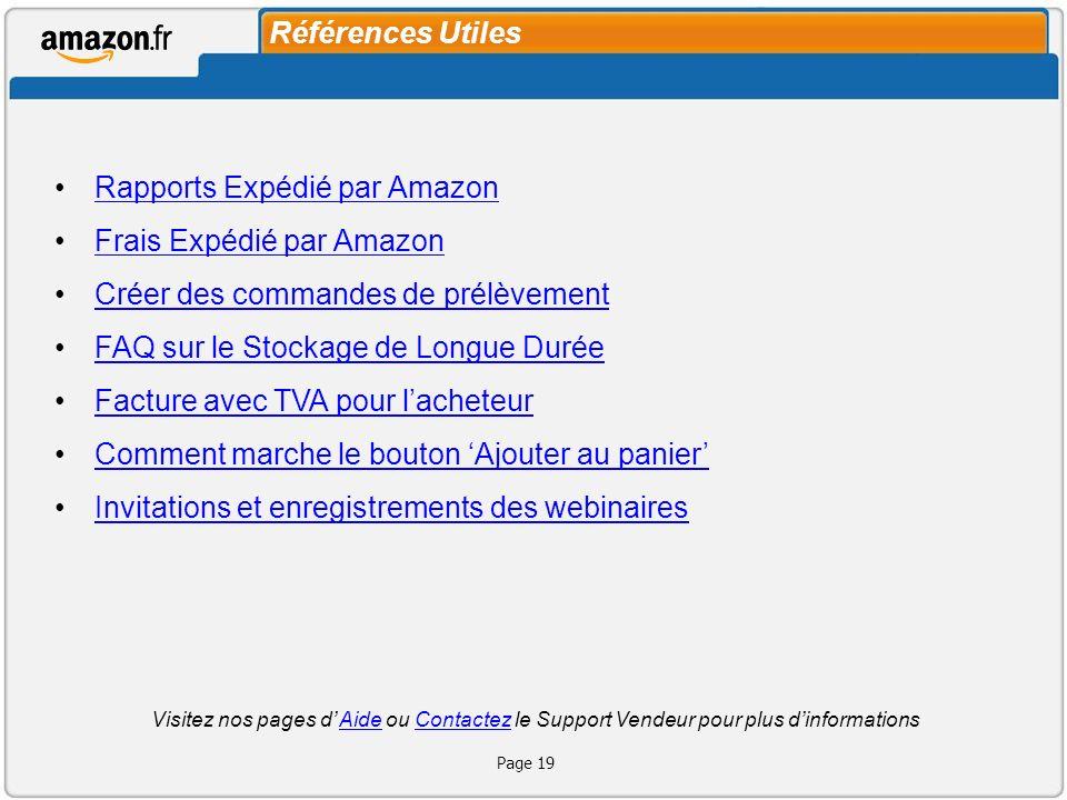 Rapports Expédié par Amazon Frais Expédié par Amazon
