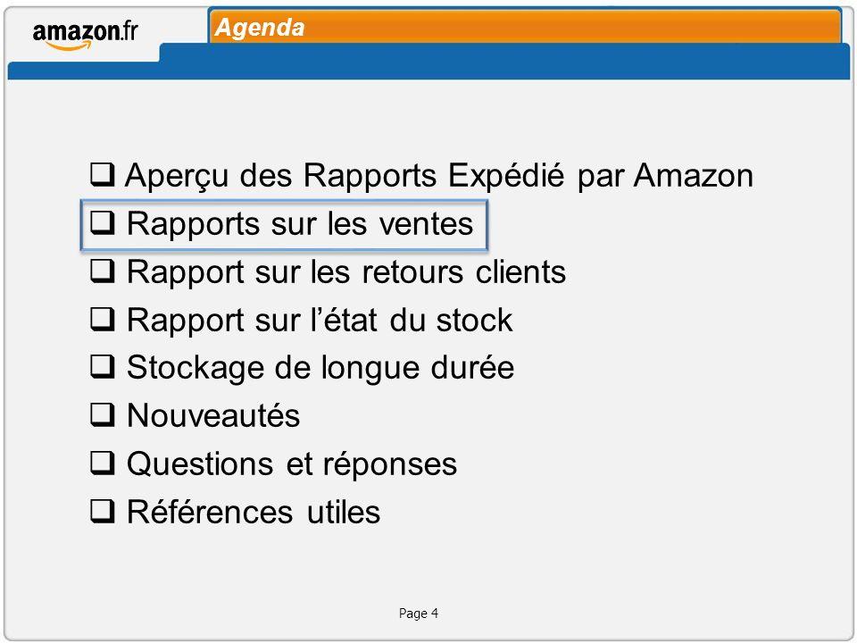 Aperçu des Rapports Expédié par Amazon Rapports sur les ventes