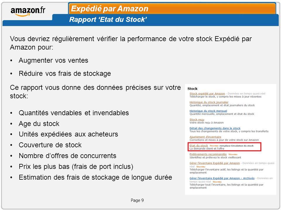 Expédié par Amazon Rapport 'Etat du Stock'