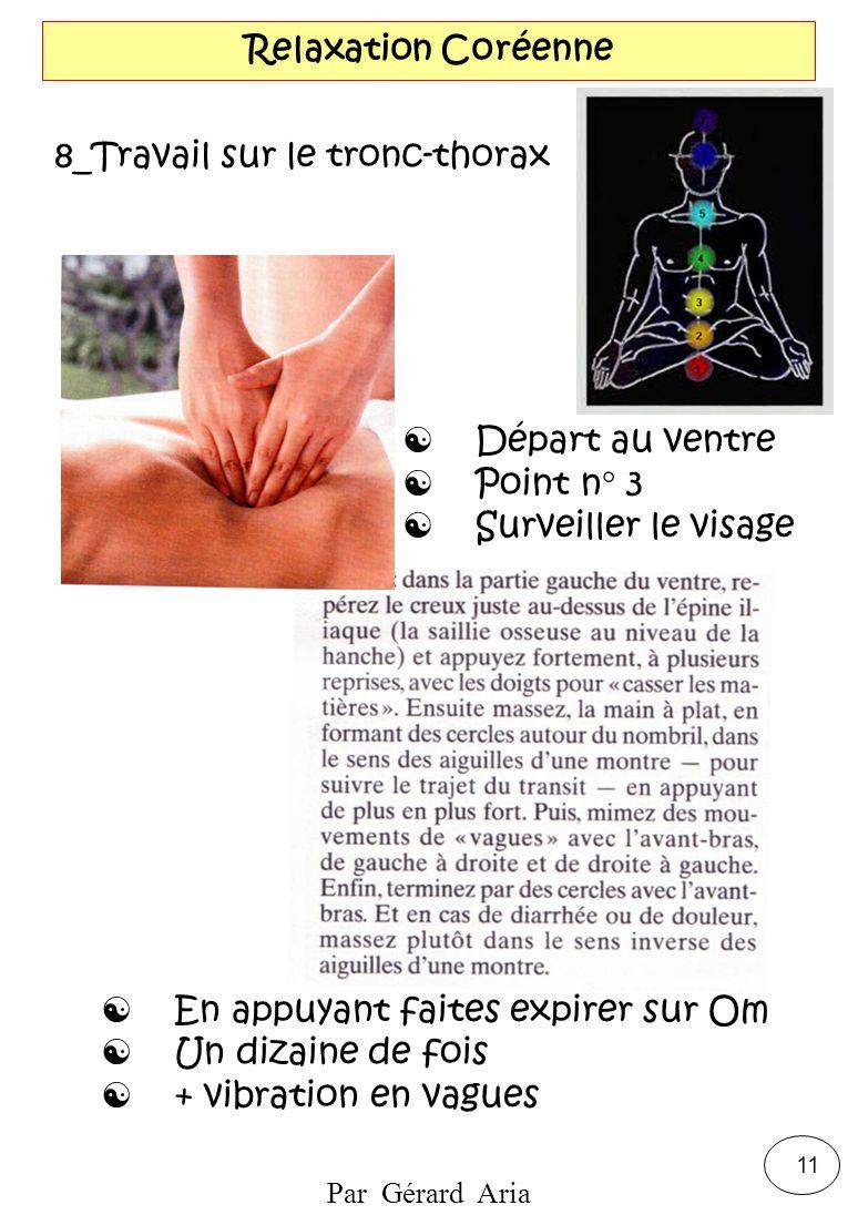 Relaxation Coréenne 8_Travail sur le tronc-thorax. Départ au ventre. Point n° 3. Surveiller le visage.