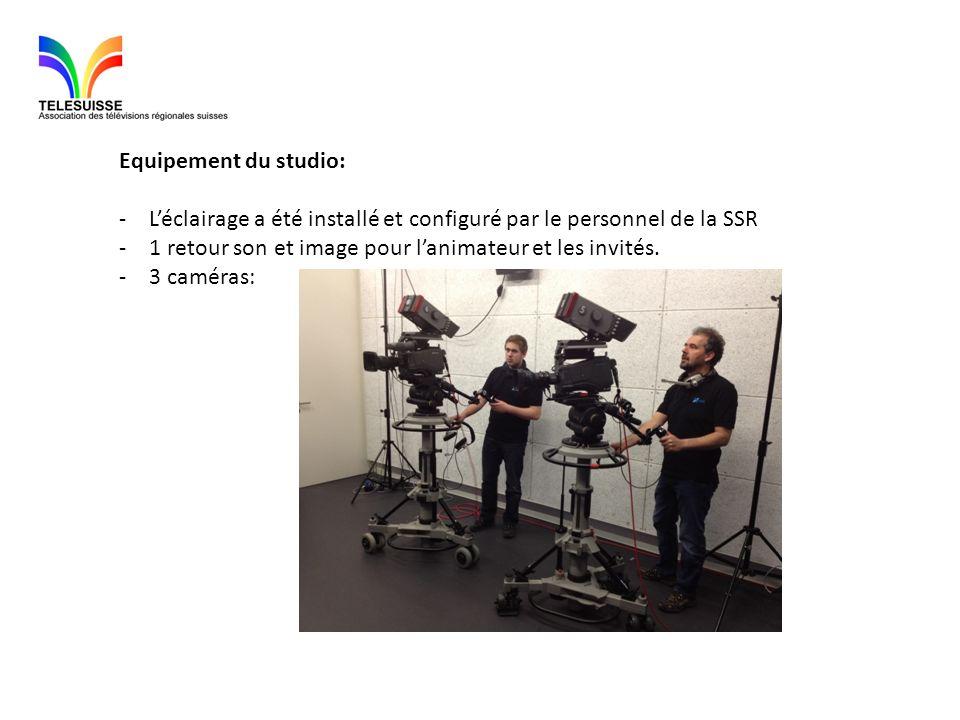 Equipement du studio: L'éclairage a été installé et configuré par le personnel de la SSR. 1 retour son et image pour l'animateur et les invités.