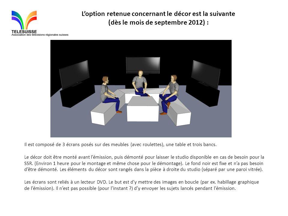 L'option retenue concernant le décor est la suivante (dès le mois de septembre 2012) :