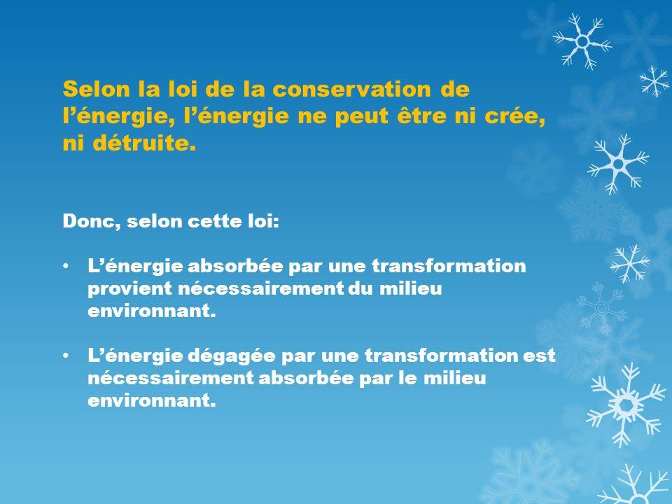Selon la loi de la conservation de l'énergie, l'énergie ne peut être ni crée, ni détruite.