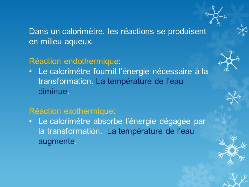 Dans un calorimètre, les réactions se produisent en milieu aqueux.