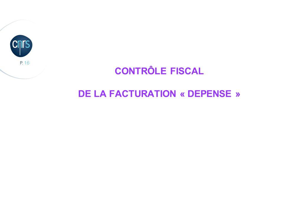 CONTRÔLE FISCAL DE LA FACTURATION « DEPENSE »