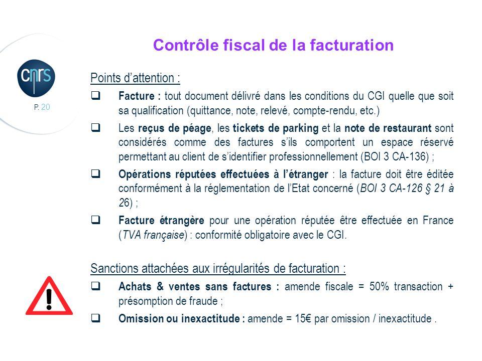 Contrôle fiscal de la facturation