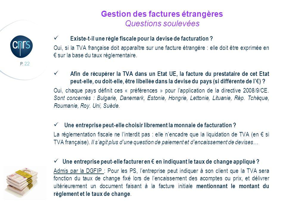 Gestion des factures étrangères Questions soulevées