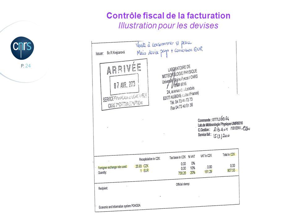 Contrôle fiscal de la facturation Illustration pour les devises