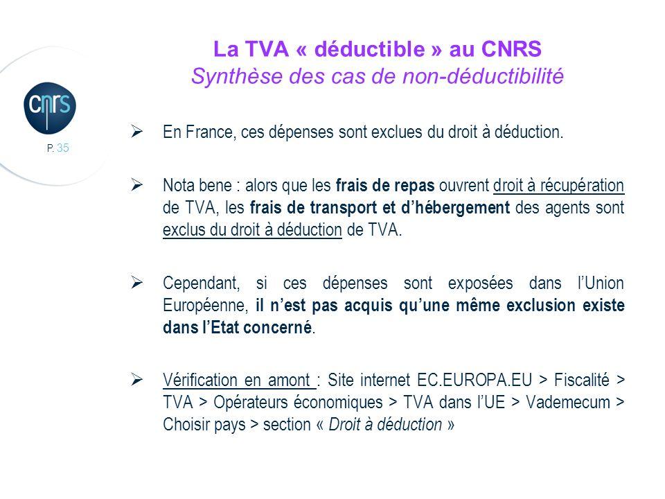 La TVA « déductible » au CNRS Synthèse des cas de non-déductibilité