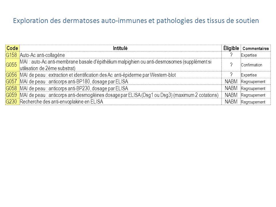 Exploration des dermatoses auto-immunes et pathologies des tissus de soutien