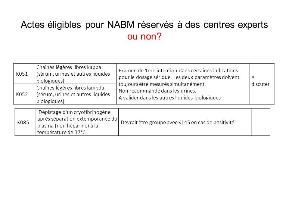 Actes éligibles pour NABM réservés à des centres experts ou non