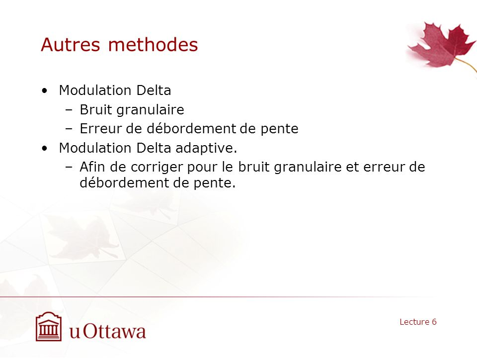 Autres methodes Modulation Delta Bruit granulaire