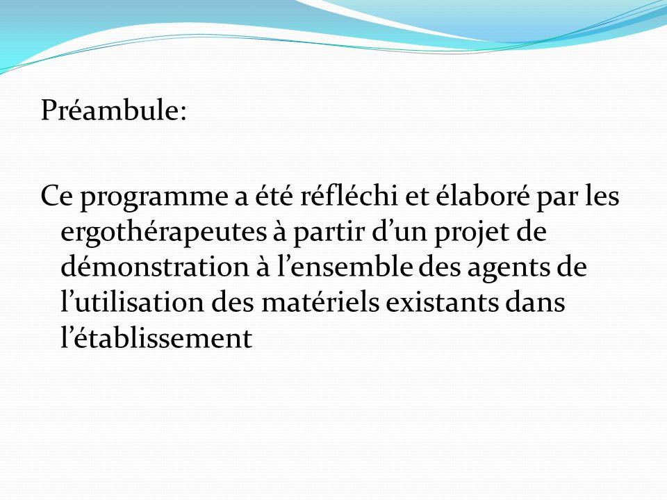 Préambule: Ce programme a été réfléchi et élaboré par les ergothérapeutes à partir d'un projet de démonstration à l'ensemble des agents de l'utilisation des matériels existants dans l'établissement