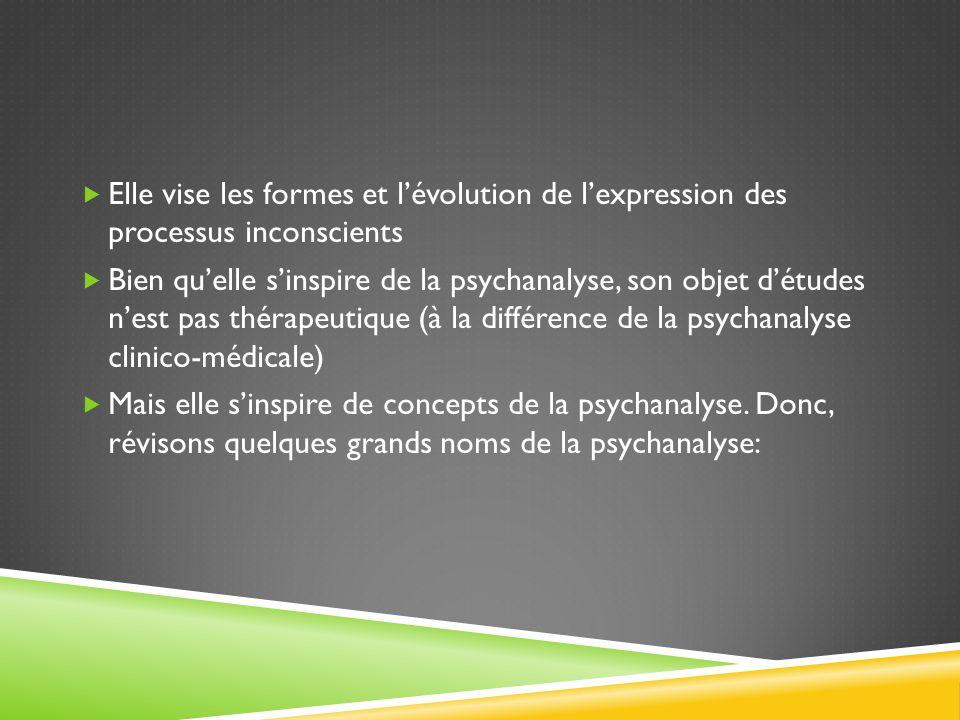 Elle vise les formes et l'évolution de l'expression des processus inconscients