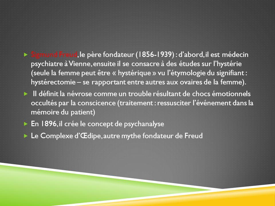 Sigmund Freud, le père fondateur (1856-1939) : d'abord, il est médecin psychiatre à Vienne, ensuite il se consacre à des études sur l'hystérie (seule la femme peut être « hystérique » vu l'étymologie du signifiant : hystérectomie – se rapportant entre autres aux ovaires de la femme).