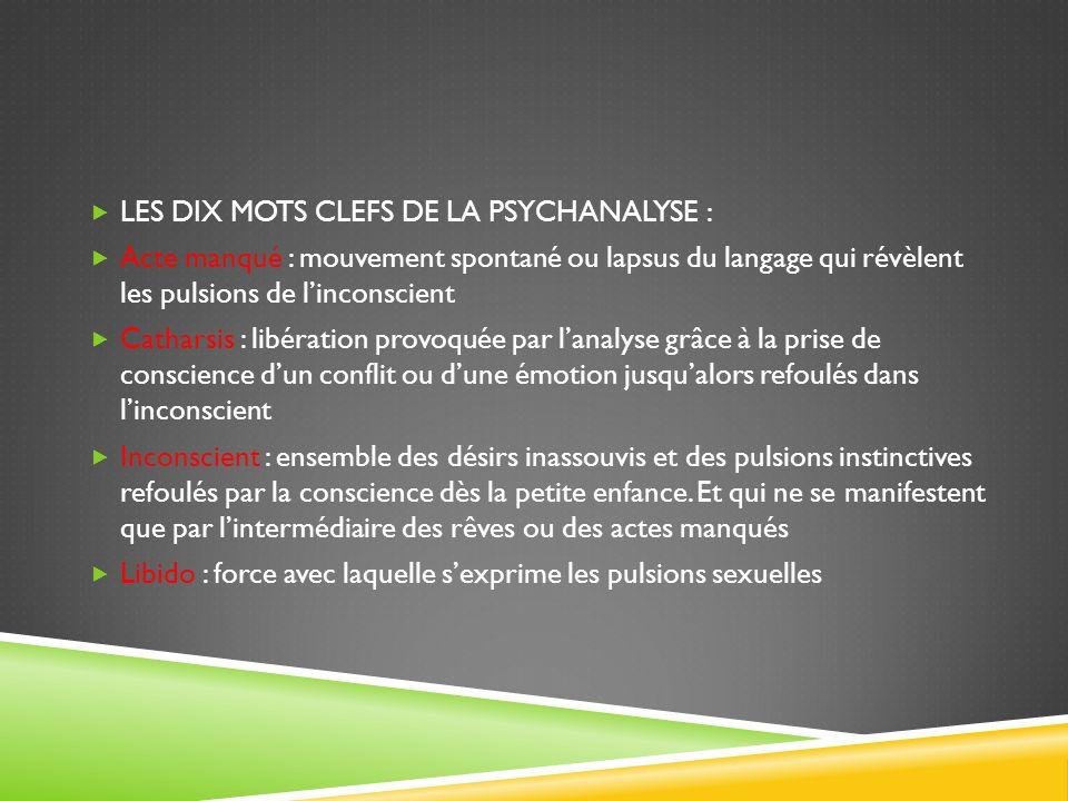 LES DIX MOTS CLEFS DE LA PSYCHANALYSE :