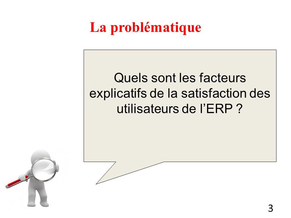 La problématique Quels sont les facteurs explicatifs de la satisfaction des utilisateurs de l'ERP