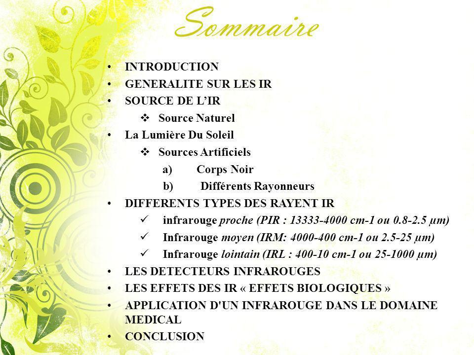 Sommaire INTRODUCTION GENERALITE SUR LES IR SOURCE DE L'IR
