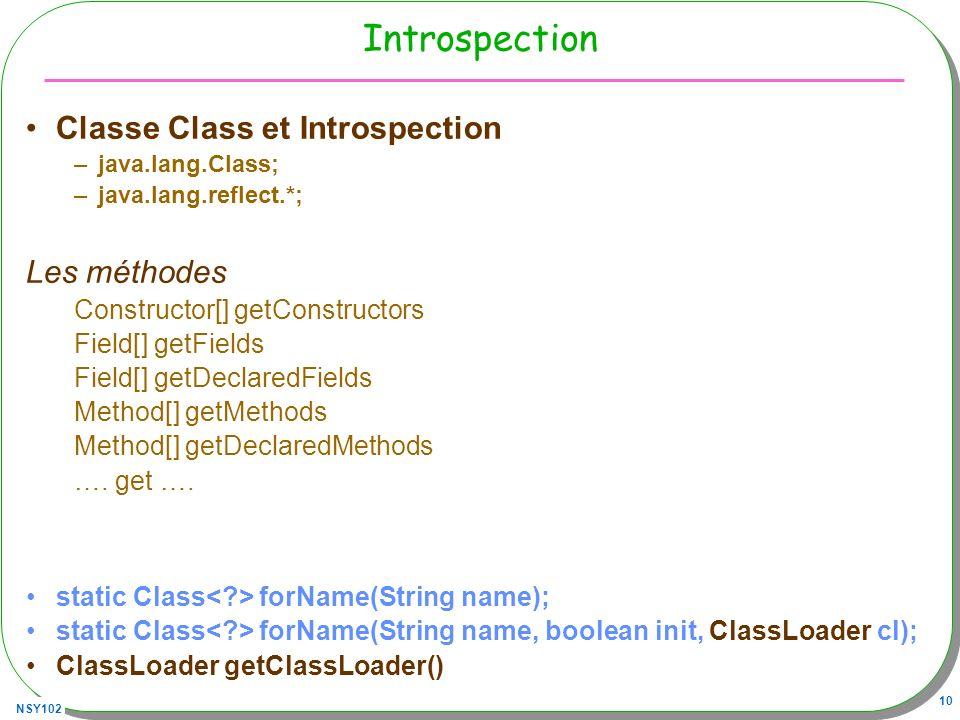 Introspection Classe Class et Introspection Les méthodes