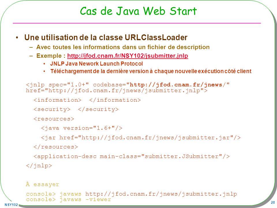 Cas de Java Web Start Une utilisation de la classe URLClassLoader